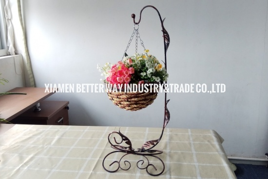 iron rattan straw basket